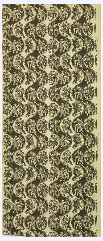 Length of printed fabric with curving vertical stripes alternating brown and off-white, each stripe punctuated with figures of couples dancing.