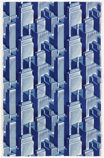 Length of printed cotton with an Art Deco-inspired cityscape of overlapping skyscrapers in shades of blue and white.