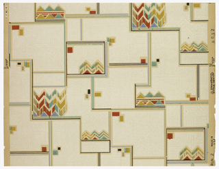 Geometric design of of black lines and red and yellow cubes with horizontal ziz-zag patterns in red, blue, and yellow on a white ground with a plain paper selvage.