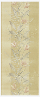 Floral stripe of pink flowers with mossy green leaves on a yellow and gold stripe on an ungrounded paper.
