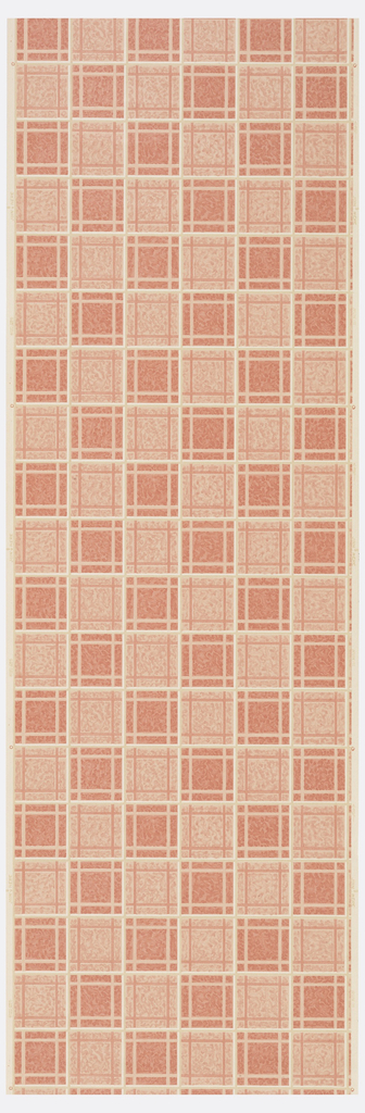 Shades of peach and white plaid on a beige ground.