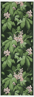 Pink and white hydrangea with green leaves with black and red on a dark green ground.