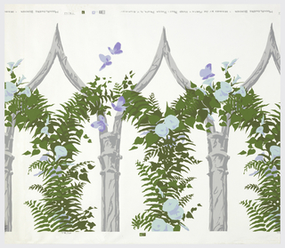 Rustic pointed arches covered with ferns, moonflowers (?) and butterflies.