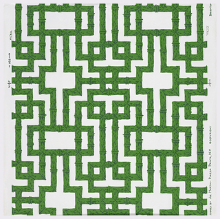 Green bamboo fretwork on white ground.