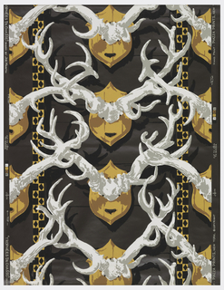 Repeating motif of antlers mounted on plaques.
