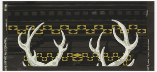 Tops of antlers on brown ground. Attached are two swatches of alternate colorways, one a light green the other turquoise.