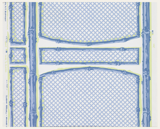 Panels of trellis with bamboo supports, printed in blue and green on white ground.