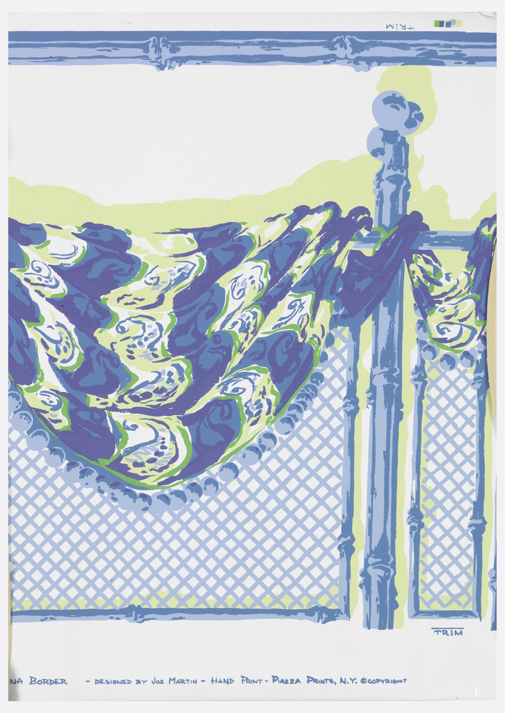 Drapery swag with beading, suspended over trellis with bamboo support. Printed in blues and green on white ground.