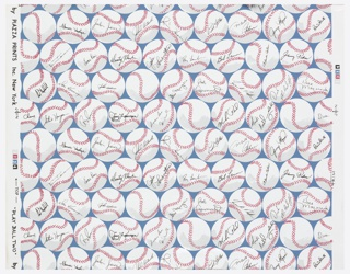 Closely-spaced baseballs in rows. Most of the balls contain an autograph of a major league ball player. Printed in blue, red, gray and black on white ground. Children, teen or den paper.