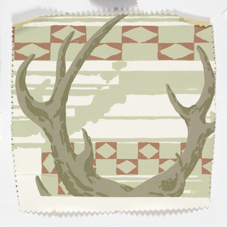 Tops of antlers. Printed on light brown, sage green and deep red on white ground. This swatch is pinked around the edges.