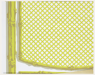 Panels of trellis with bamboo supports, printed in gray, tan and yellow on a white ground.