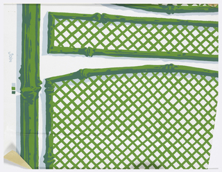 Panels of trellis with bamboo supports, printed in two shades of green and light blue on white ground.