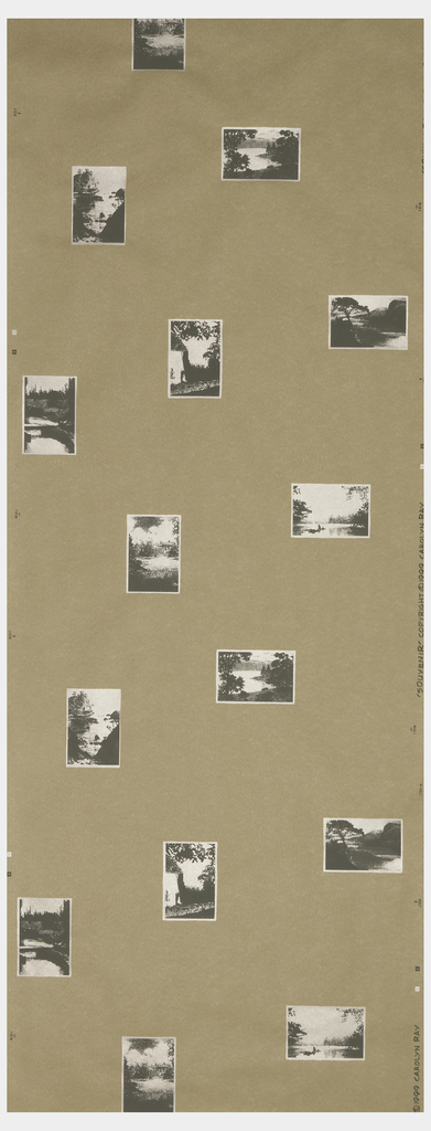 Postcard images printed in silver, on brown craft paper. Printed in the daguerreotype colorway.