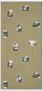Postcard or snapshot images printed in silver, on brown craft paper. Printed in the daguerreotype colorway.