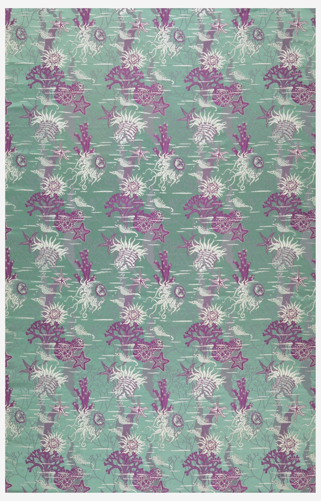 Turquoise satin ground with design of jelly fish, sea-horses, star-fish, coral and other marine forms in bright violet and white.
