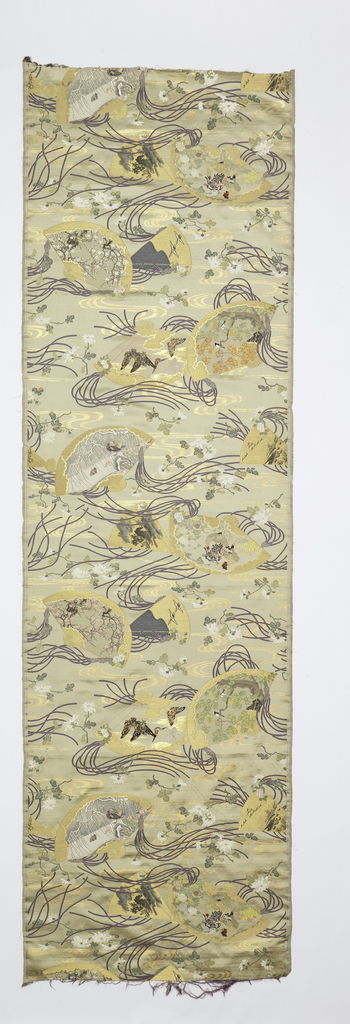 Panel of cream-colored satin brocaded with colored silks and gilt paper in a design of fans, floral sprays, butterflies and streamers. Fans have landscape details with flowering branches of cherry blossom and a variety of birds. Probably made for a formal obi.