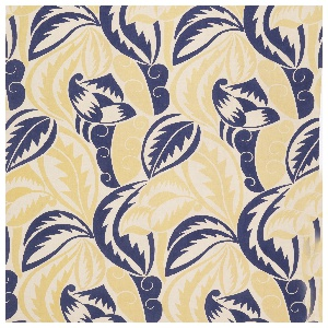 Large scale design of highly conventionalized foliage in blue and yellow on white.