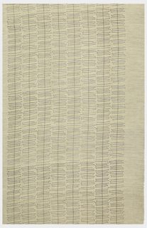 Beige and gray striae ground printed with a gray and yellow pattern of jackstraws forming vertical rows.