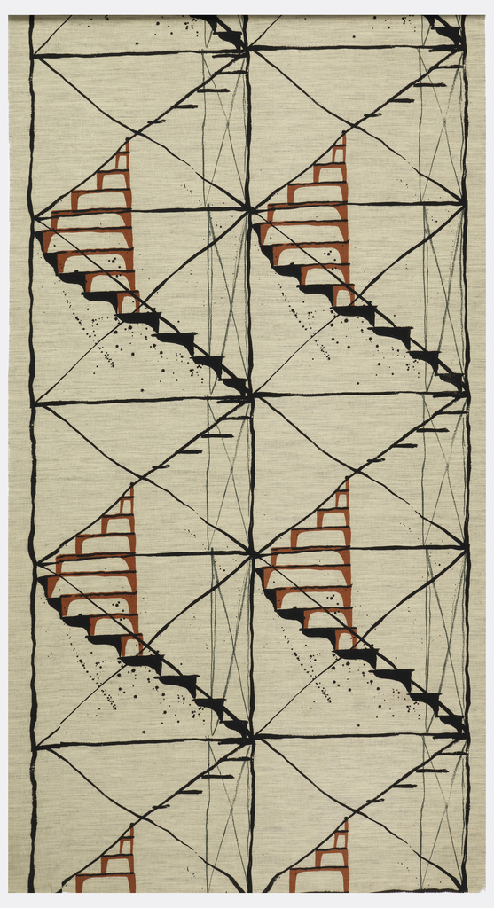 Length of printed fabric with loosely-rendered spiral staircases forming a large-scaled diamond lattice. Printed in black, green, and red on a striae beige and gray ground.