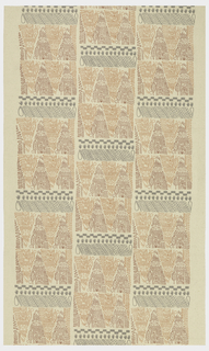 Printed in pale gray, rust and orange with close-set squares of hand prints, primitive sales, calligraphy, etc.