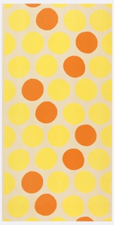 Large orange and yellow disks scattered on a white ground.