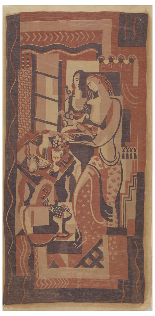 Panel of printed cotton batiste with a scene of three women carrying fruit and fish to a table near a window; the table has fruit and a goblet and carafe. Printed in dark brown, reddish brown and tan on an off-white ground. The style is inspired by Art Deco and Cubist painting.