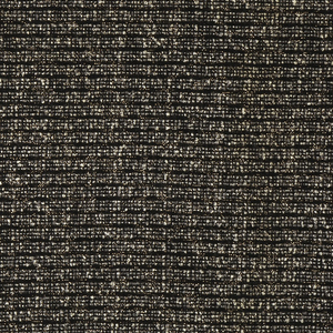 Length of fabric with woven horizontal stripes of grey and white boucle yarns and copper-colored metallic film on a black ground. This fabric was used as automobile upholstery for Chrysler's 1959 Imperial Crown Sedan. This colorway was paired with pale gray leather trim.