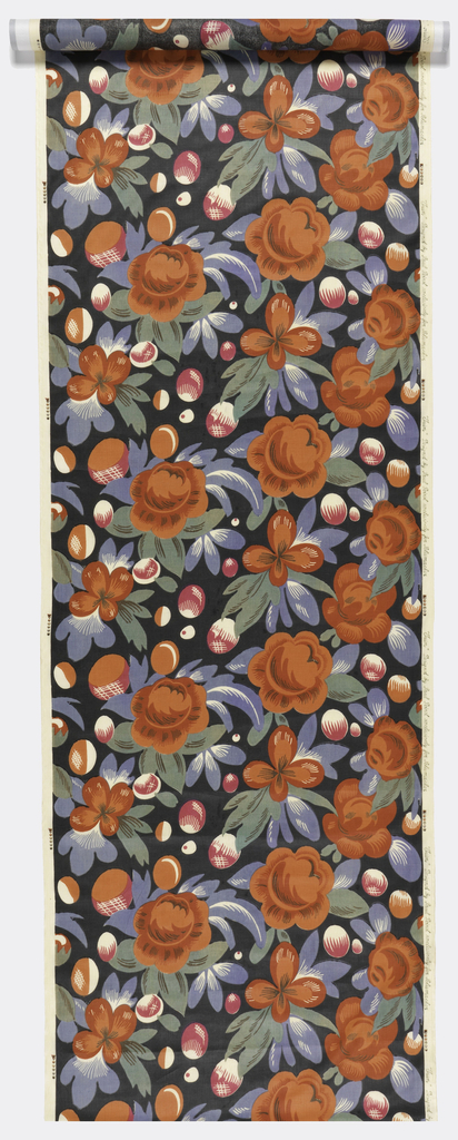 Length of printed fabric with a large-scale design of  large red roses with blue and green leaves, interspersed with white and pink buds on a black ground. Printed on white fabric.