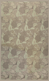 A stylized pattern of pineapples, other fruits and leaves woven in gray and green.