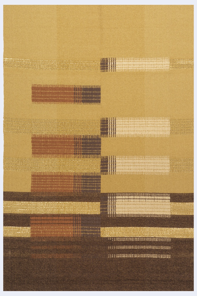 Rectangular hanging with an ochre ground with a column of horizontal rectangles projecting from a center axis. Wide band of dark brown at the bottom, with two narrower brown stripes above. In ochre, brown, rust and off-white. Brown yarns are chenille; rust and off-white are boucle. Some use of gold metallic yarns.