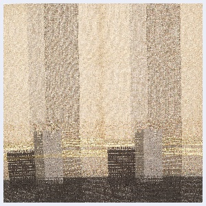 Woven with warp stripes in grey and light grey; weft stripes of metallic gold and grey; and supplementary warp floats in shades of grey. Chenille and boucle yarns.