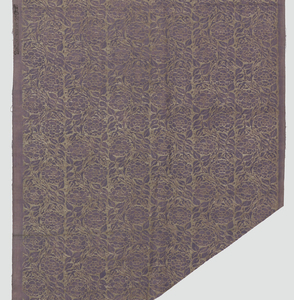 The ground fabric has a marbled effect in shades of purple and pink, possibly achieved with a partial discharge technique, then overprinted with silver ink in a pattern of stylized flowers and vines.