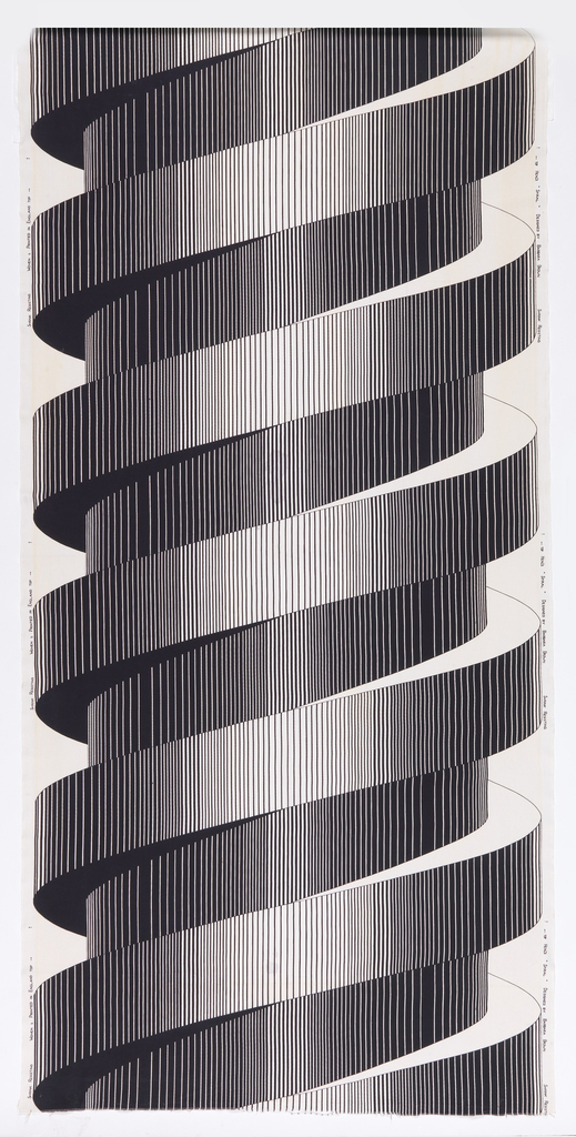 Length of printed cotton with a very large scale graphic print of a spiraling column, in black and white.