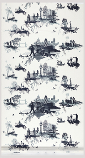 """Toile"" style pattern in blues on a white ground; the scenes are of the contemporary life and architecture of London."