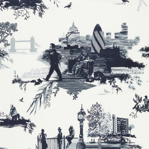 """""""Toile"""" style pattern in blues on a white ground; the scenes are of the contemporary life and architecture of London."""