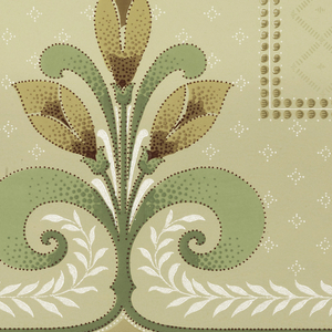 """Art Nouveau / Mission Style. Alternating large bouquets of three flowers with small singular flower, all with large curling leaves. Connected by foliate scrolls, and framed by large beaded dentil pattern. Top has striping and a horizontal line of small beaded diamonds, below which is a trelis design made up of dashes. Bottom has striping and beading. Background in bottom half has beaded diamonds. Ground goes from tan to cream. Printed in greens, browns, dark red, cream, and white liquid mica. Forms are outlined with beading/dots. Printed in top selvedge: """"S. A. Maxwell & Co"""" Pattern Number: """"3426"""" """"B"""""""