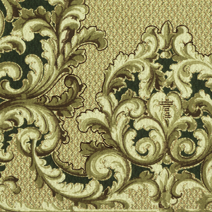 Scrolling acanthus medallions, large and small alternating. Printed in tans and green on mottled ground. Band of beads along bottom edge.