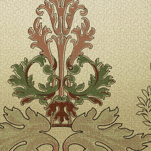 Scrolling foliate medallion alternates with smaller foliate motif within a wreath. Wavy vine with large leaves along bottom edge. Background color shades from light tan at top to darker tan at bottom of paper.
