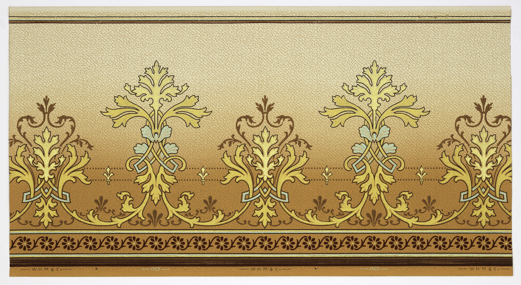 Art Nouveau / Mission Style. Alternating large and medium stylized foliate medallions connected by vining scrolls and two lines of square beading with stylized fleur-de-lis. Bottom has striping and floral guilloche. Top has stripes. Background has horizontal dash and geometric dot pattern. Ground shades from orange to cream. Printed in orange, metallic blue-green, dark red, brown, black, gold mica. Printed in bottom selvedge: W H M & Co 1762
