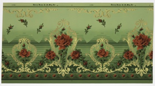 Alternating large and small metallic gold medallions, each inset with large dark pink rose. Connected by metallic and floral scrolls. Top has green stripes and metallic scrolling motif. Bottom has scalloping floral pattern. Ground fades from dark green (bottom) to light green (top). Background of rosebuds and variating horizontal green stripes.