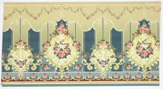 "Flitter frieze. Alternating large and medium sized foliate medallions connected by and inset with pink rose floral vines. Top has thin pink and gold mica flake lines with hanging floral vines. Bottom has gold mica flake and pink stripes with a floral scalloping motif. Background has vertical thin stripes and thick bands decorated with beading and scrolls Ground shades from blue to light green (bottom to top). Printed in pinks, blues, greens, white, dark red and gold mica flakes. Printed in top selvedge: ""S.A. Maxwell & Son Co New York & Chicago - 2960"" ""Exclusive-Design"" ""15"""
