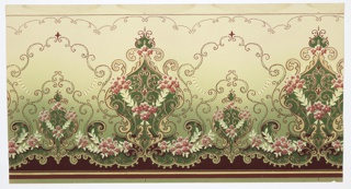 Alternating large and small floral medallions connected by floral scrolls and floral beaded scrolls which culminate in a fleur-de-lis. The bottom has red and metallic gold stripes and beaded scrolls. The top has as red stripe and metallic gold beading with a beaded scrolling scallop. Ground shades from green to beige (bottom to top). Printed in greens, pinks, creams and metallic gold.