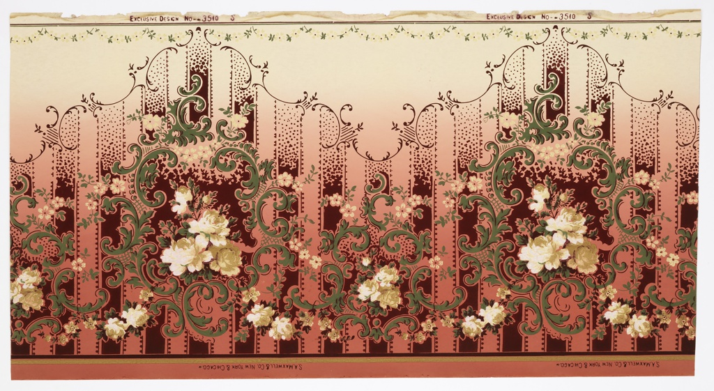 Foliate scrolls and floral bouquets, printed on striped background. Very petite floral swag across top edge. Printed on background that shades from tan at top to red at bottom.