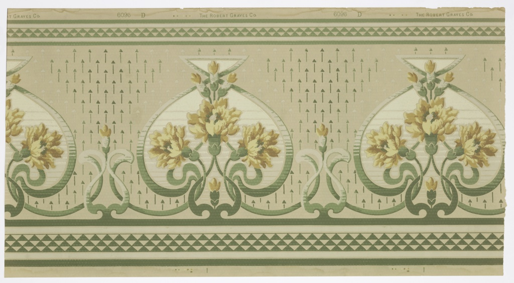 """Art nouveau style. Alternating large and small stylized green scroll medallions. Inside the large medallions are large bouquets of yellow flowers. There is a singular flower in each small medallion. The  top and bottom have bands of a green and white triangular diaper pattern. The ground is beige and covered in small vertical lines in groups of three. Between each medallion are white and green arrow-like forms pointing upwards. Printed in selvedge: """"The Robert Graves Co."""" Pattern number """"6096 D"""""""