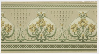 "Art nouveau style. Alternating large and small stylized green scroll medallions. Inside the large medallions are large bouquets of yellow flowers. There is a singular flower in each small medallion. The  top and bottom have bands of a green and white triangular diaper pattern. The ground is beige and covered in small vertical lines in groups of three. Between each medallion are white and green arrow-like forms pointing upwards. Printed in selvedge: ""The Robert Graves Co."" Pattern number ""6096 D"""