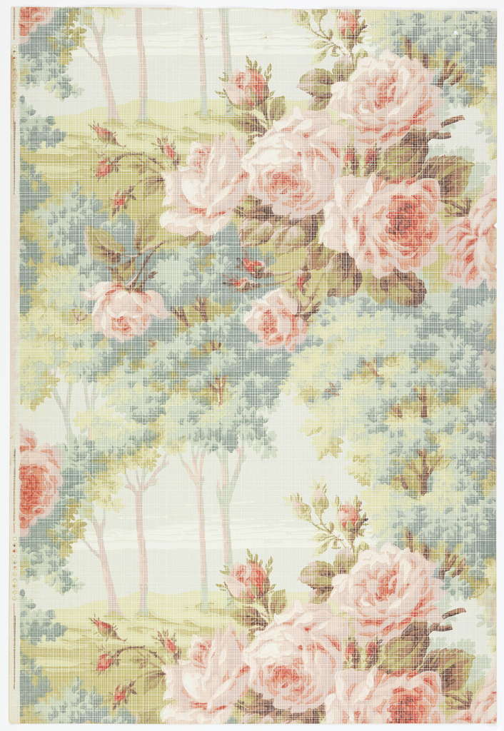 Repeating landscape scene, with group of four trees to left, and large pink roses to right. Overprinted with a grid design to simulate weave.