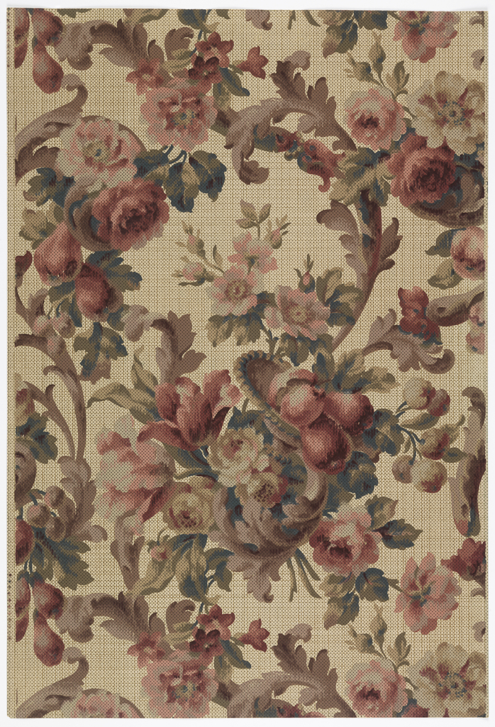 Floral bouquets and scrolling foliage. Printed in colors on tan background patterned like textile weave.