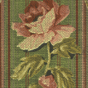 Floral stripe design. Large-scale rose set between stripes. Printed on green background.