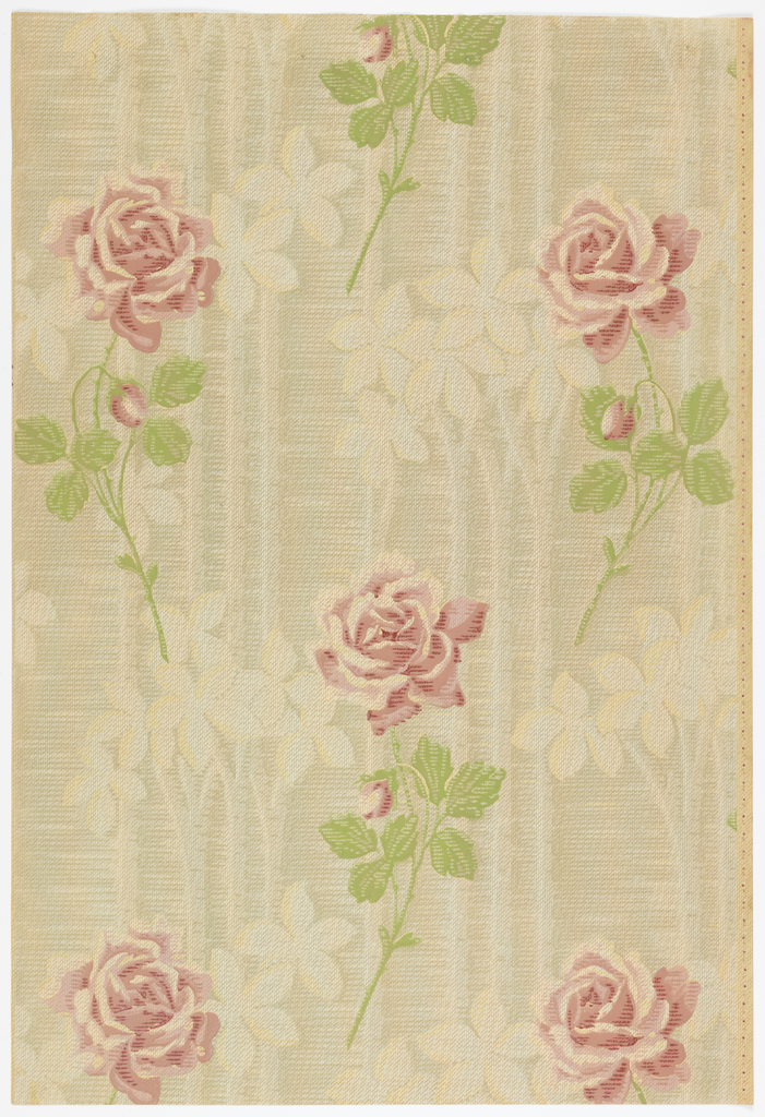 Red roses on stems, alternating between two across and one across. Background contains a floral stripe printed with a shadow effect. Printed in red and green on a background of gray and white.
