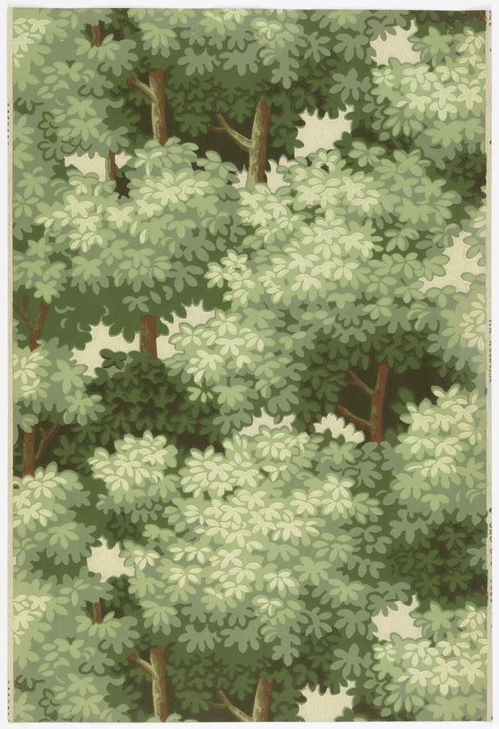 All-over pattern of tree-tops with dense foliage and occasional tree branches and hints of sky. Printed in shades of green on white ground.